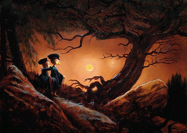 """Postkarte """"Zwei Enten in Betrachtung des Mondes"""""""