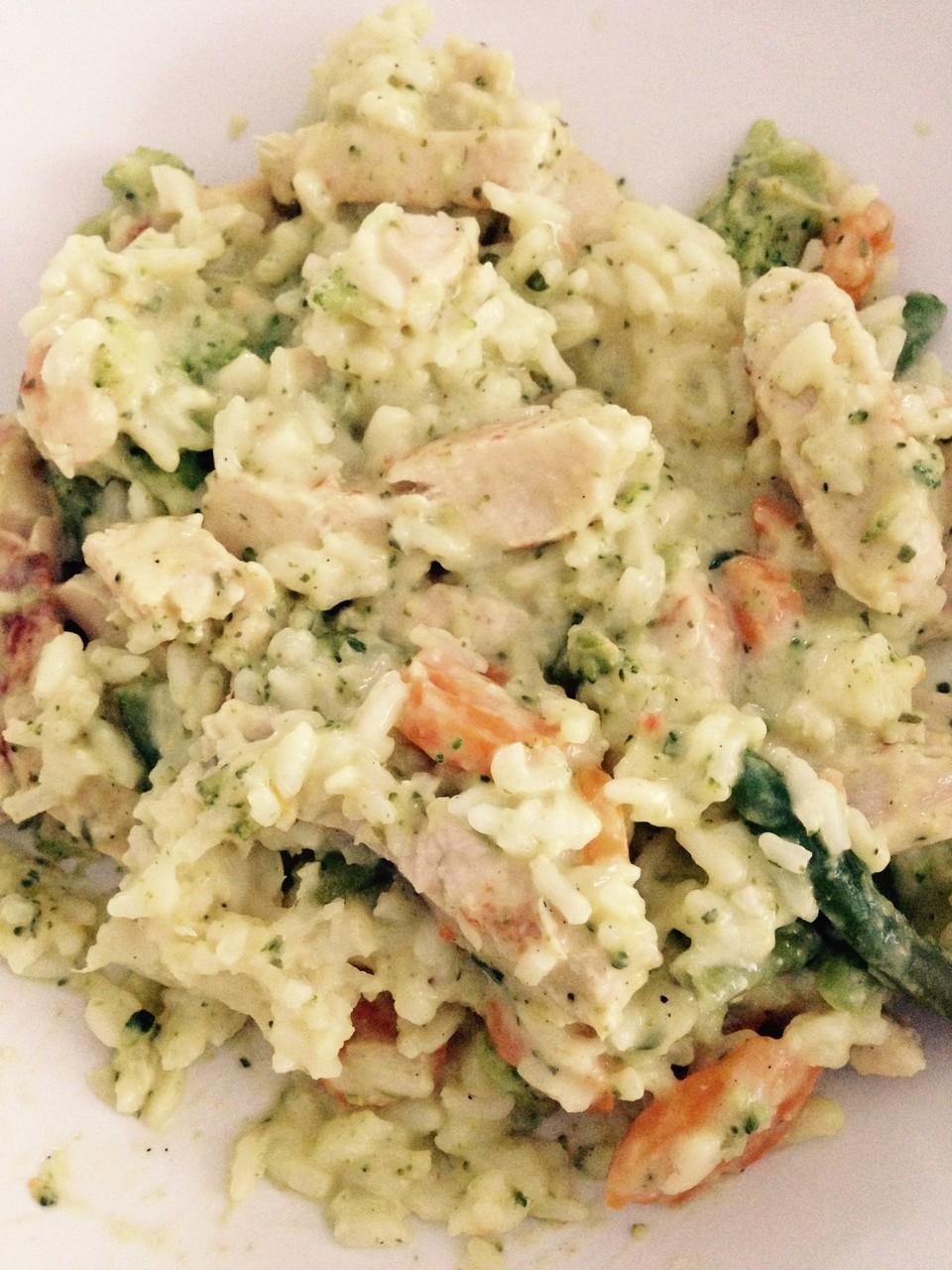 Mittagessen: Gemüsepfanne mit Hähnchenbrust und Reis