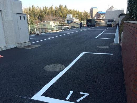 施工内容:地盤改良・土間CONサイクルポート・透水性舗装・白線・車止め石