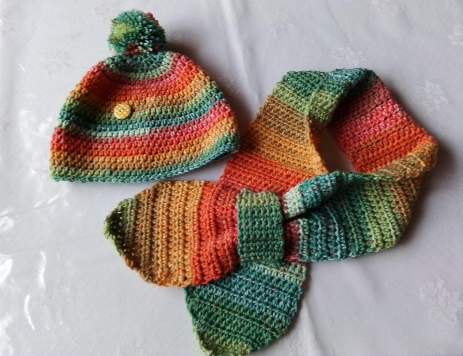 Kindermütze und Stedckschal, Lana Grossa Cool Wool Big Color, Farbe 4001
