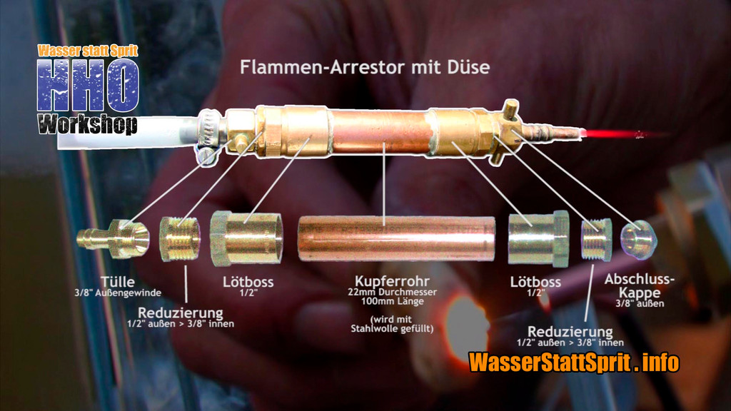 Flammenarrestor und Düse im Detail. Der Flammenarrestor dient als Rückbrandsicherung, falls der Gasdruck nachlässt.