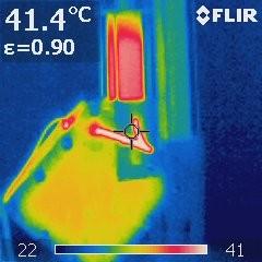 Eine Aufnahme von Roberts DryCell mittels Infrarot-Wärmebildkamera.