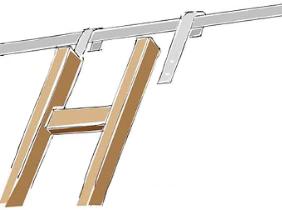 Staffe per scale a soppalco o librerie, hooks for mezzanine ladder