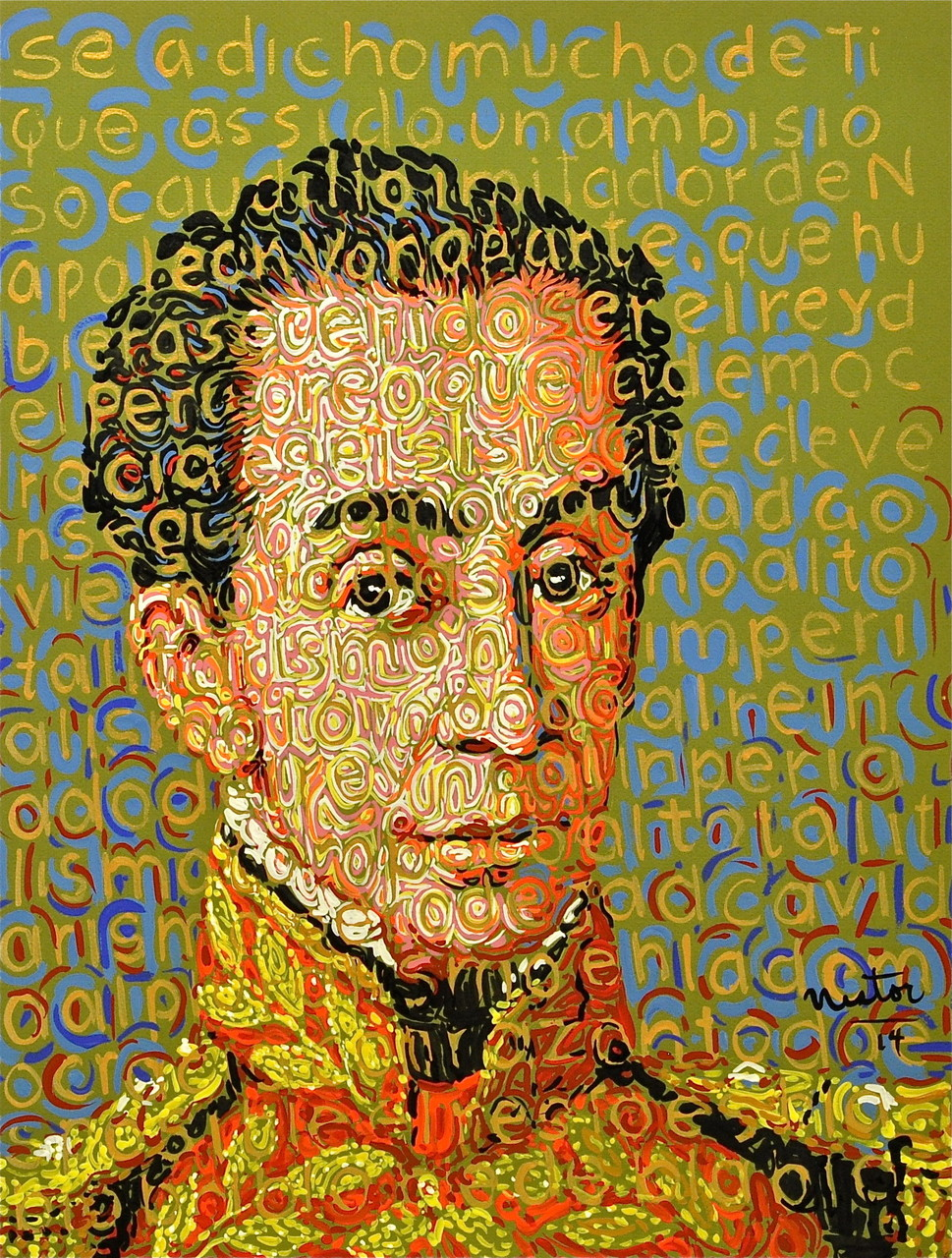 """Simon Bolivar"", 2014, Acrylic on paper, 20 x 25 inches"