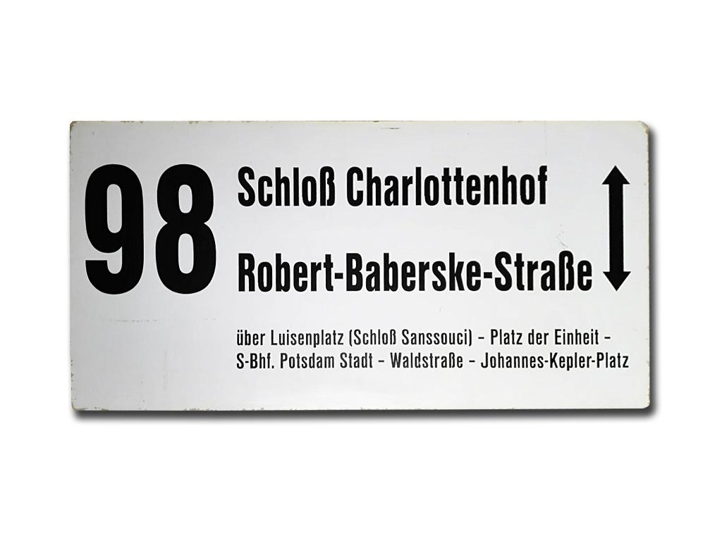 Schild der Linie 98 nach 1996