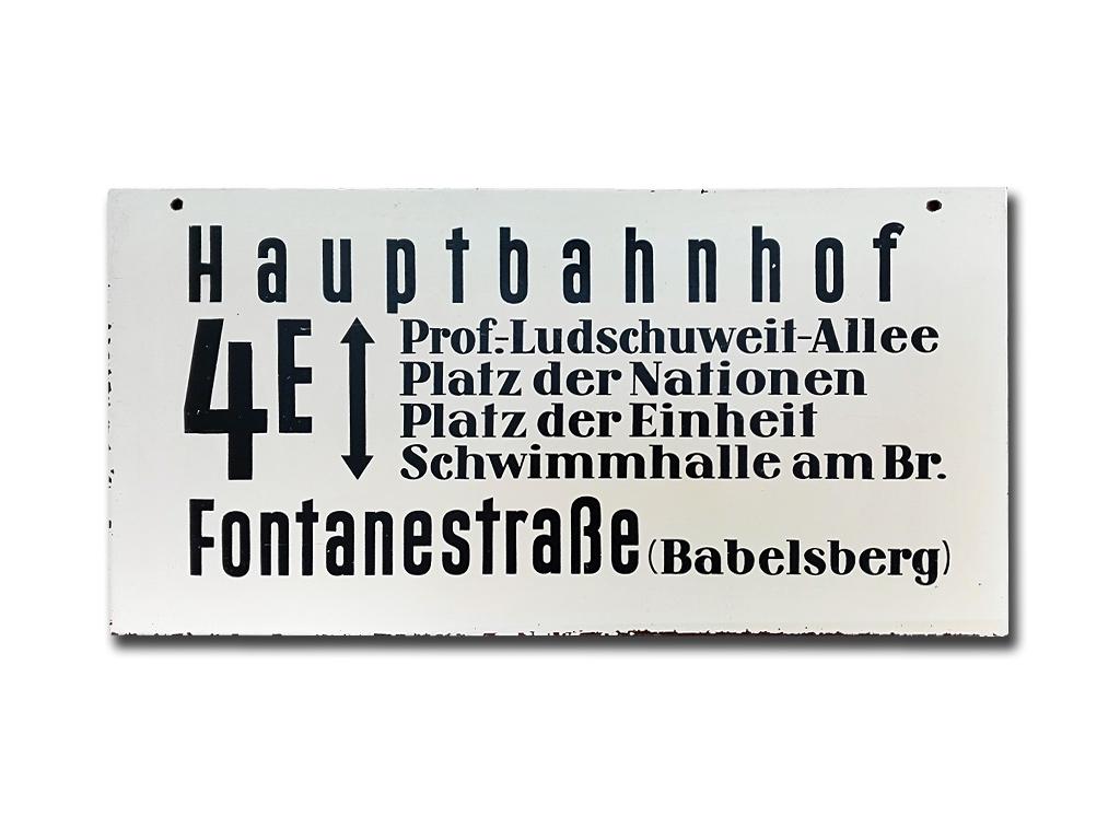 Schild der Linie 4E um 1975