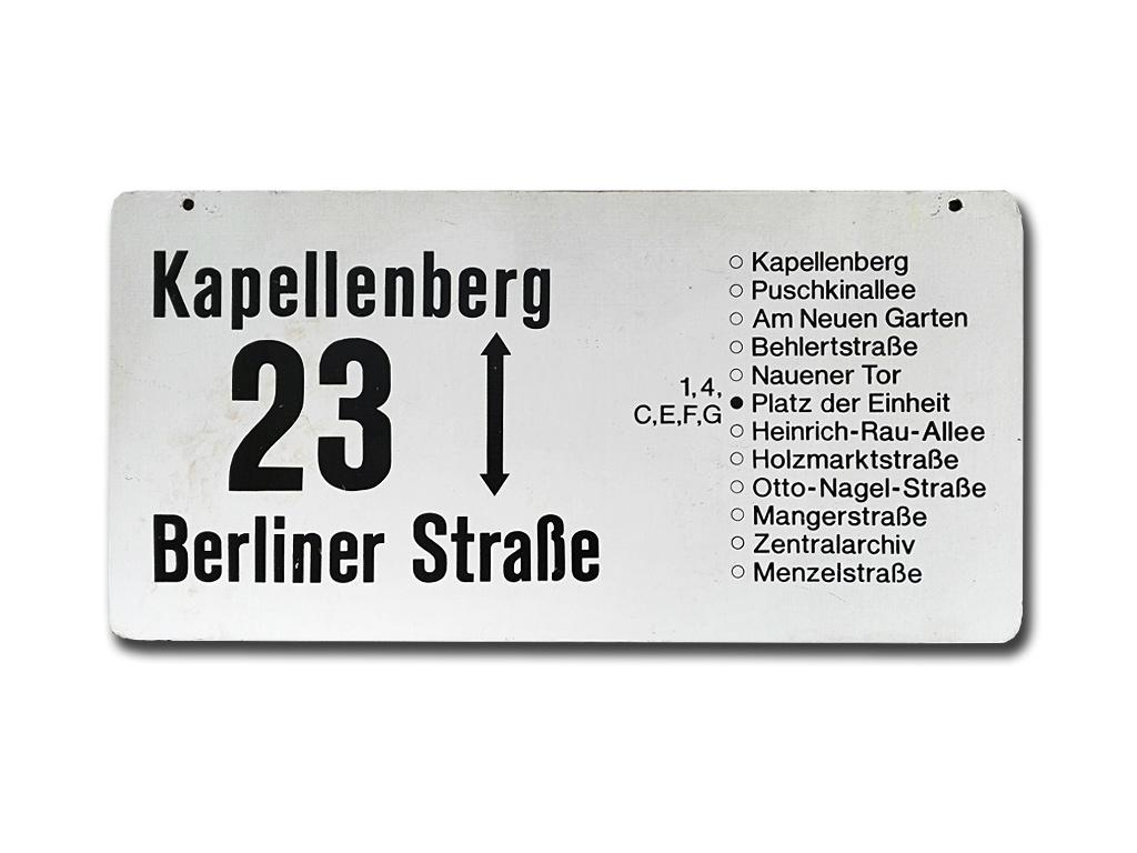 Schild der Linie 23 (Innenseite, 1977-79)