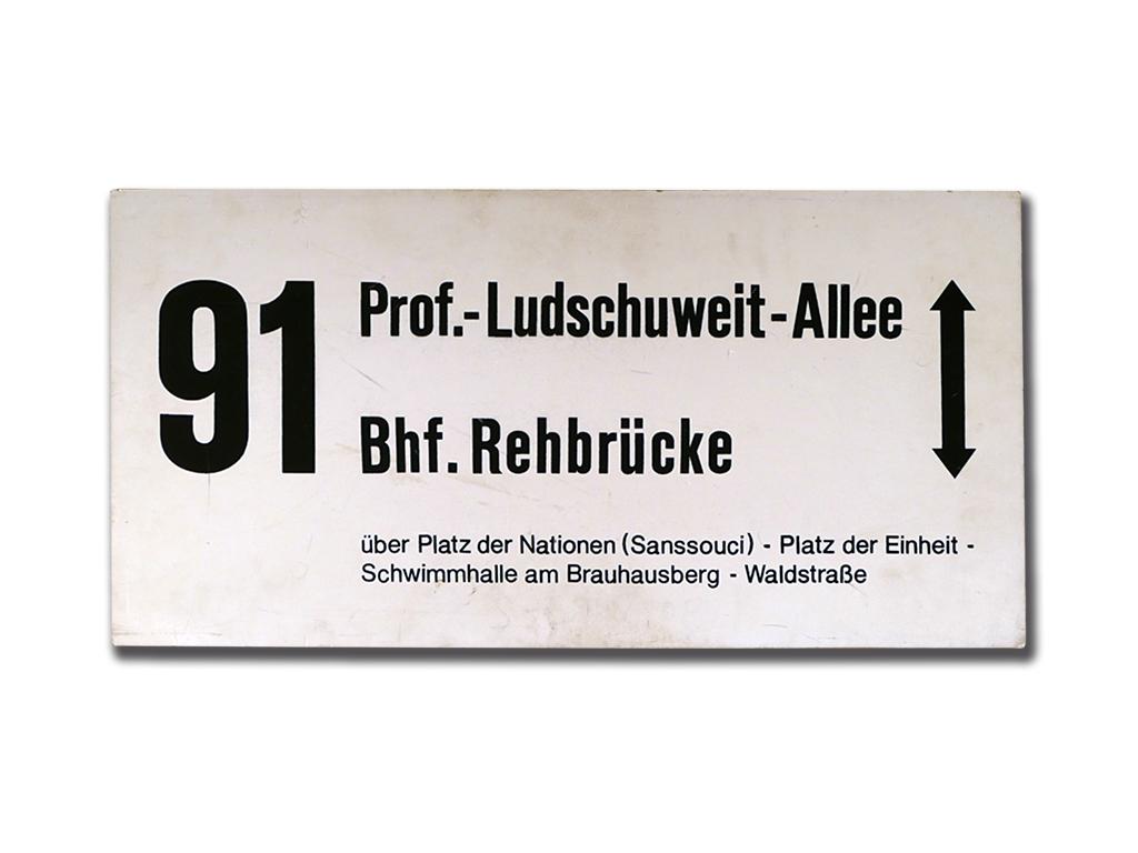 Schild der Linie 91 von 1991/92