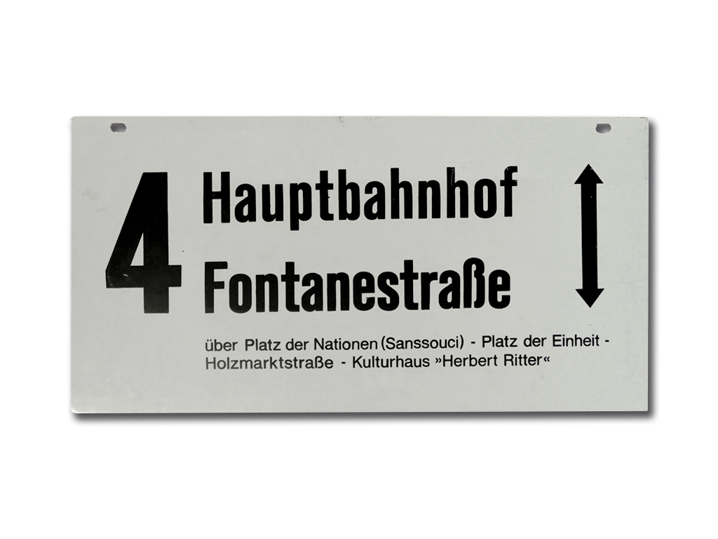 Schild der Linie 4 um 1985 (Außenseite)