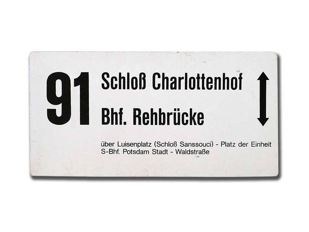 Schild der Linie 91 um 1995