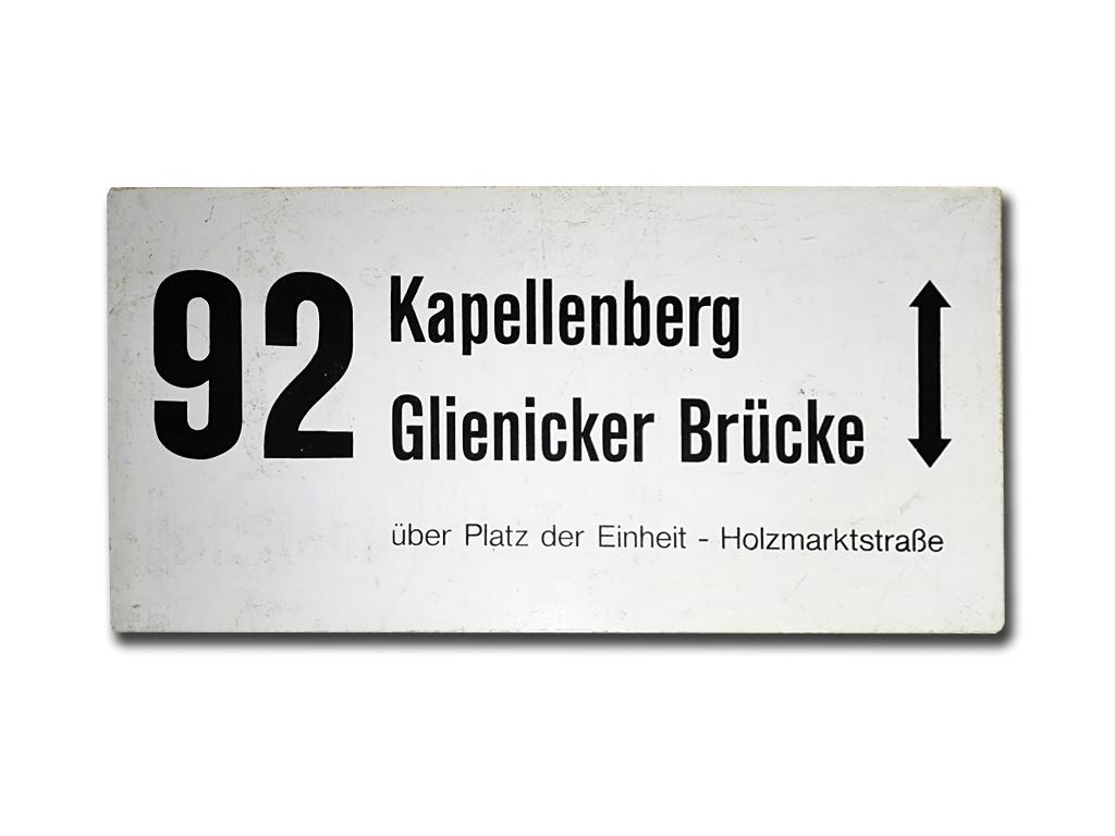 Schild der Linie 92 (1992 - 1993)