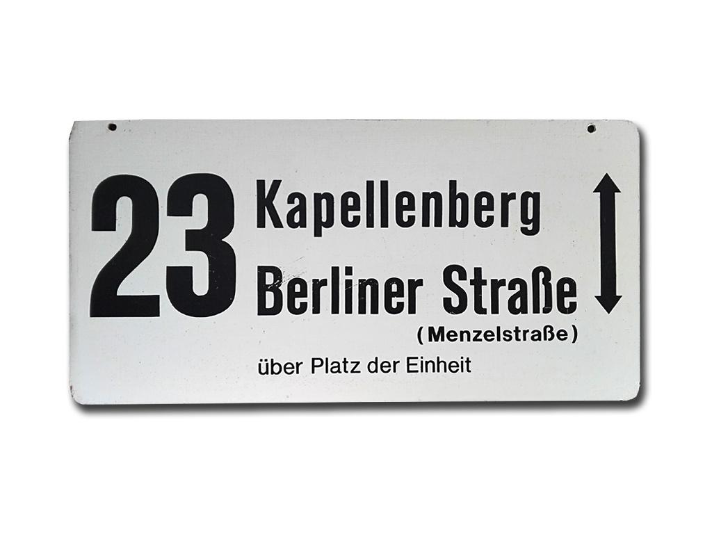 Schild der Linie 23 (Außenseite, 1977-79)