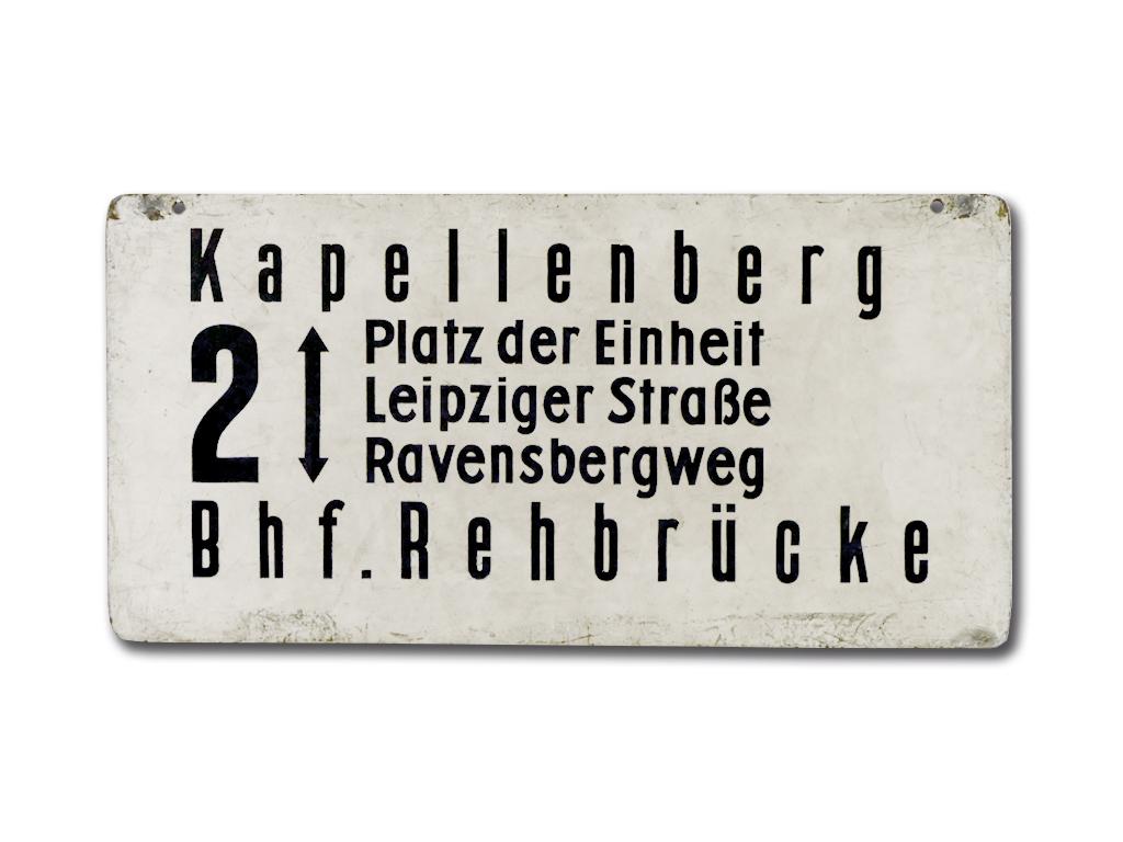 Schild der Linie 2 um 1970