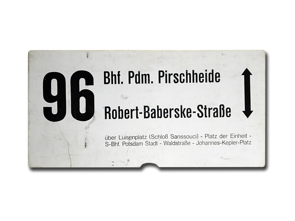 Schild der Linie 96 um 1995