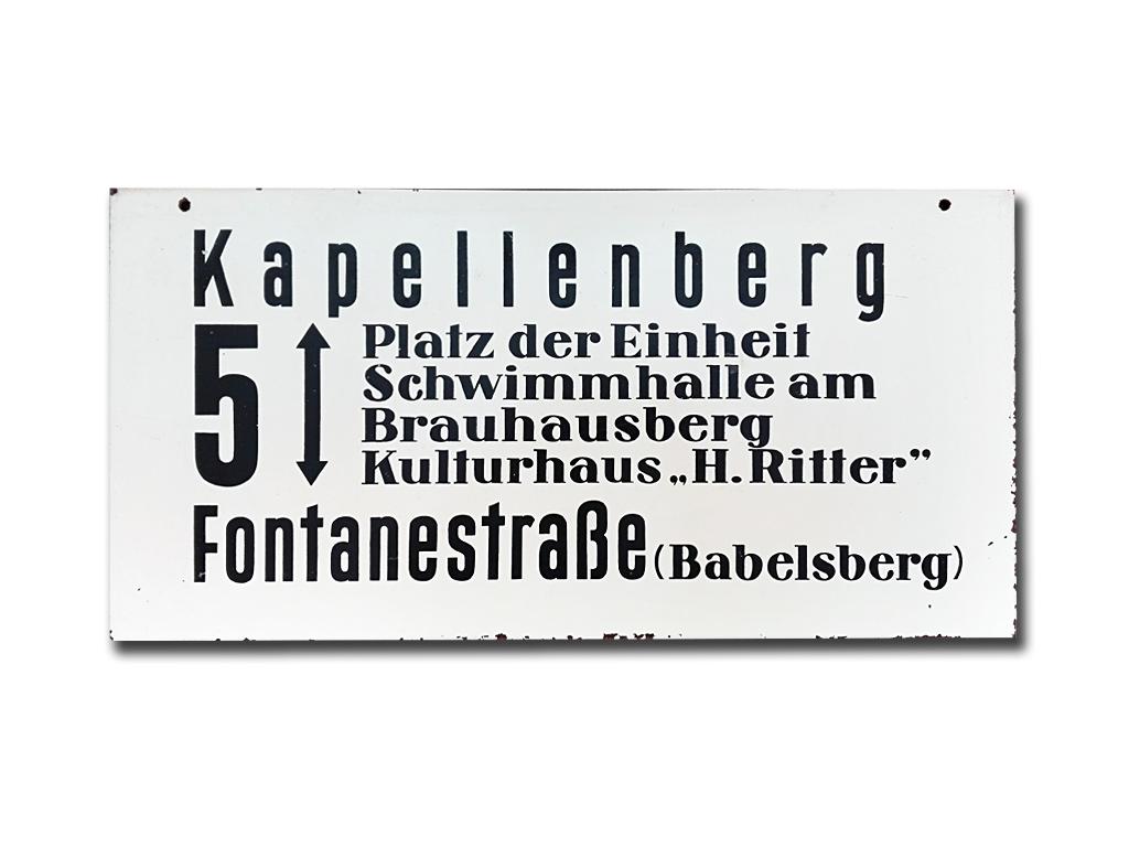 Schild der Linie 5 um 1975