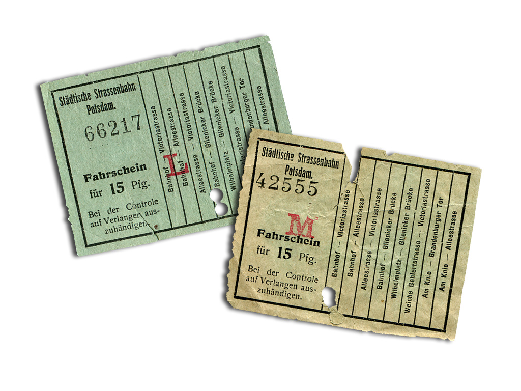 Fahrscheine der elektrischen Straßenbahn um 1916