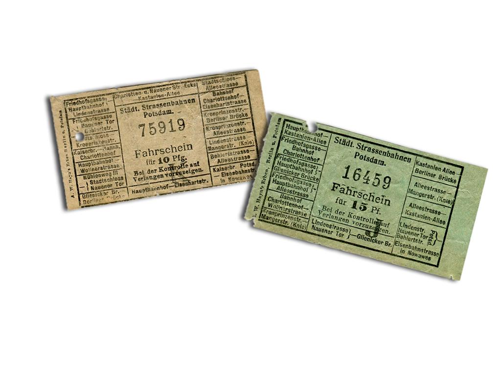 Fahrscheine der elektrischen Straßenbahn um 1911 (links) und 1915 (rechts)