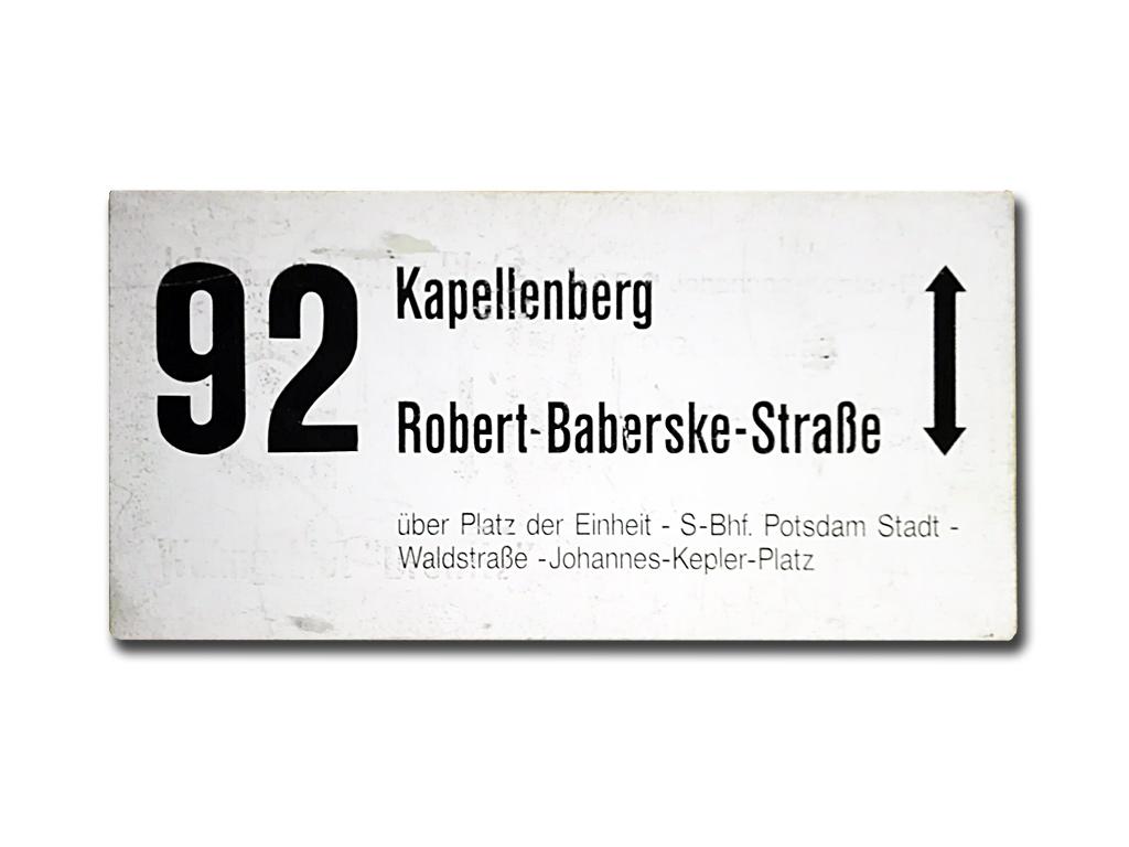 Schild der Linie 92 um 1995