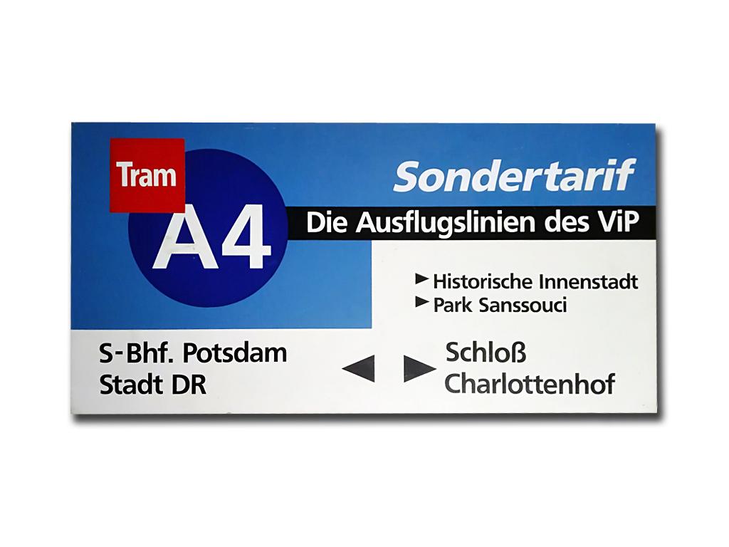 Schild der Ausflugslinie A4 (1992 und 93)