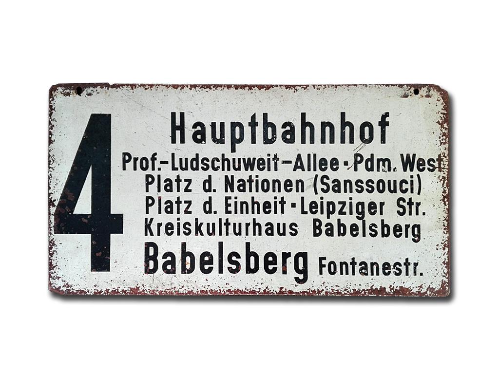 Schild der Linie 4 um 1970