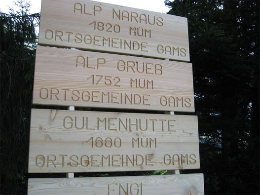 Beschriftung Alphütten