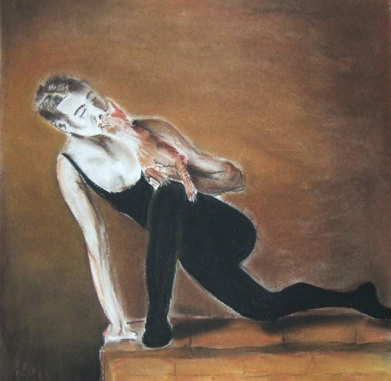 ART-Nr. 41 - Tänzer mit Katze / Pastellkreide
