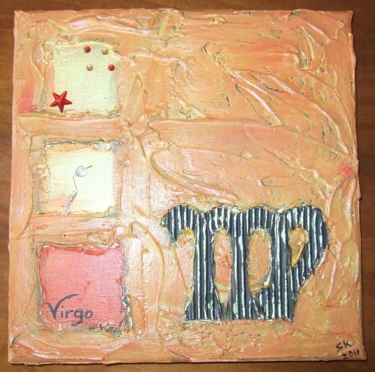 "ART-Nr. 38 - Sternzeichen ""Jungfrau"" / Acryl + Strukturpaste auf Leinwand"