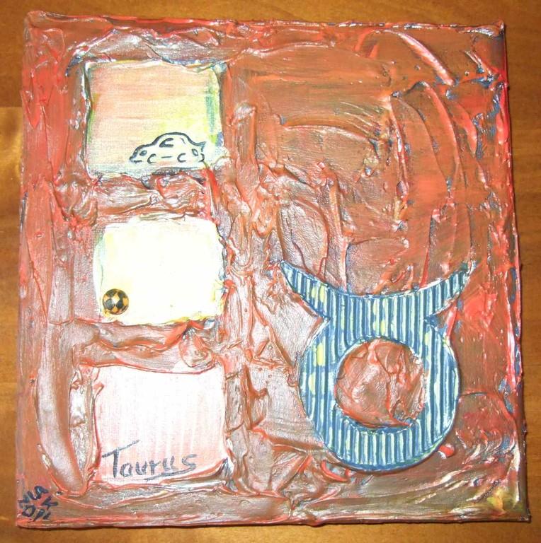 """ART-Nr. 39 - Sternzeichen """"Stier"""" / Acryl + Strukturpaste auf Leinwand"""