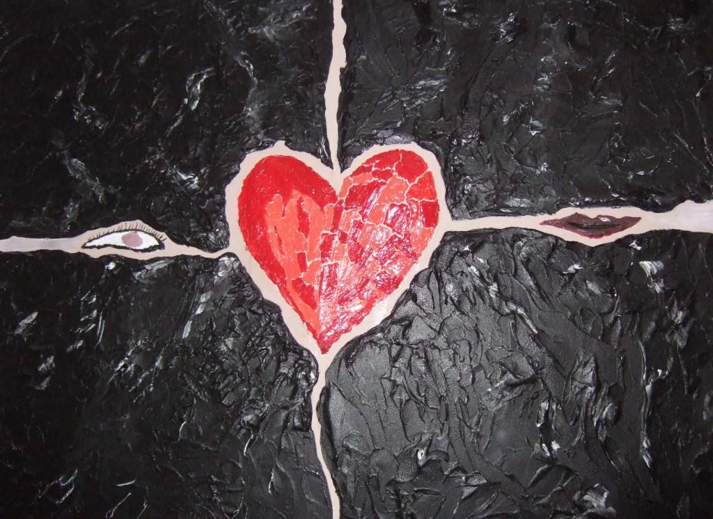 Art-Nr. 019 - Steinerndes Herz / Acryl und Modelliermasse auf Leinwand