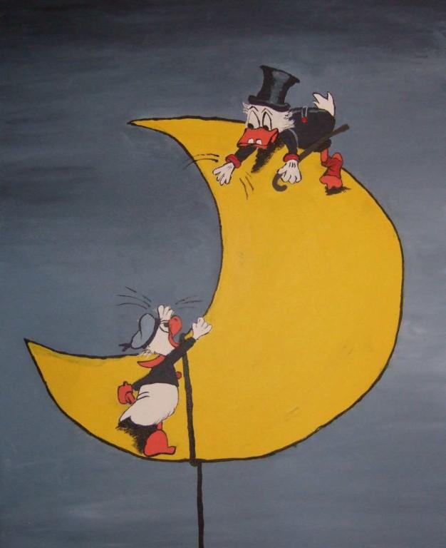 Art-Nr. 004 - Disney mit Mond - Acryl auf Leinwand