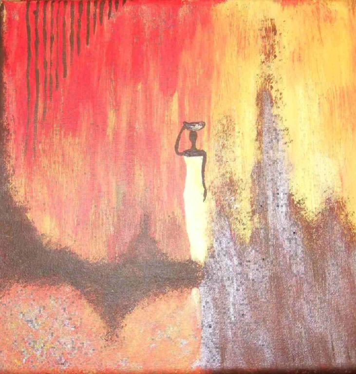 Art-Nr. 33 - Afrikanerin / Acryl auf Leinwand 20 x 20 cm