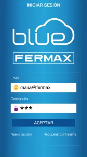 Inicio de sesión en la app blue