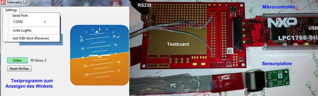 Lagesensor Test (Gyro+Beschleunigung)