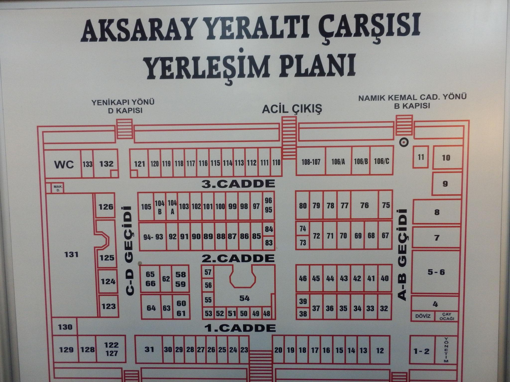アクサライ地下商店街案内図
