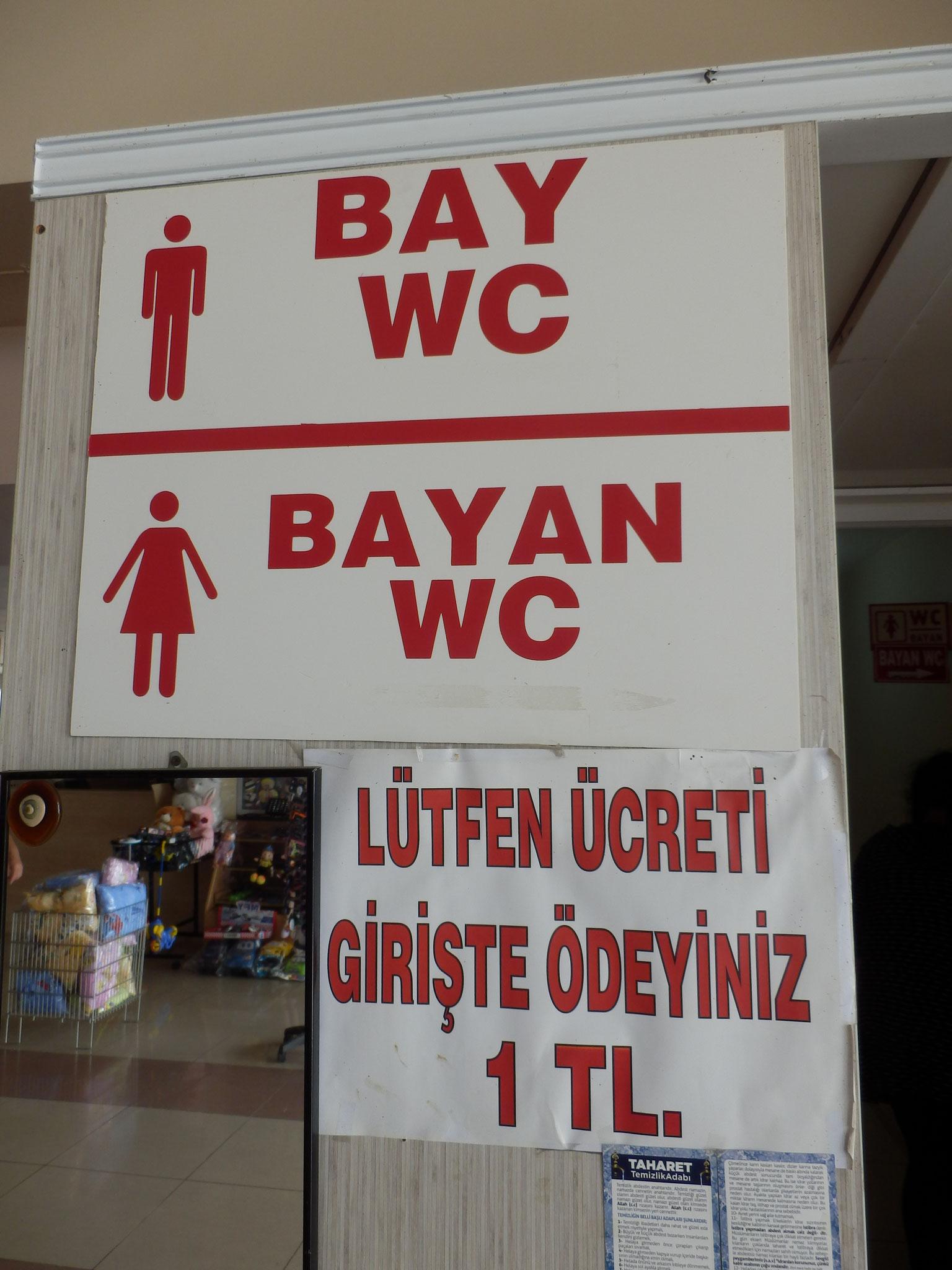男性トイレ 女性トイレ 料金前払い制1リラ