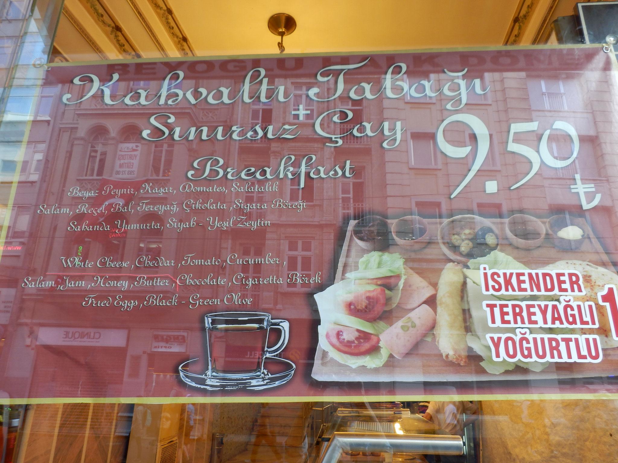 朝食プレート+チャイ飲み放題 9.5リラ