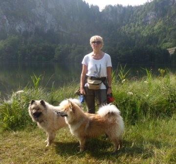 vorne Heidi mit Gefährin Dascha und Frauchen Gaby