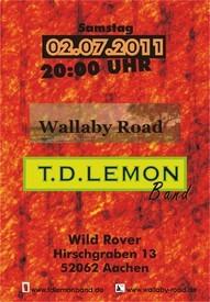 Plakat T.D. Lemon Band, Wild Rover, Aachen