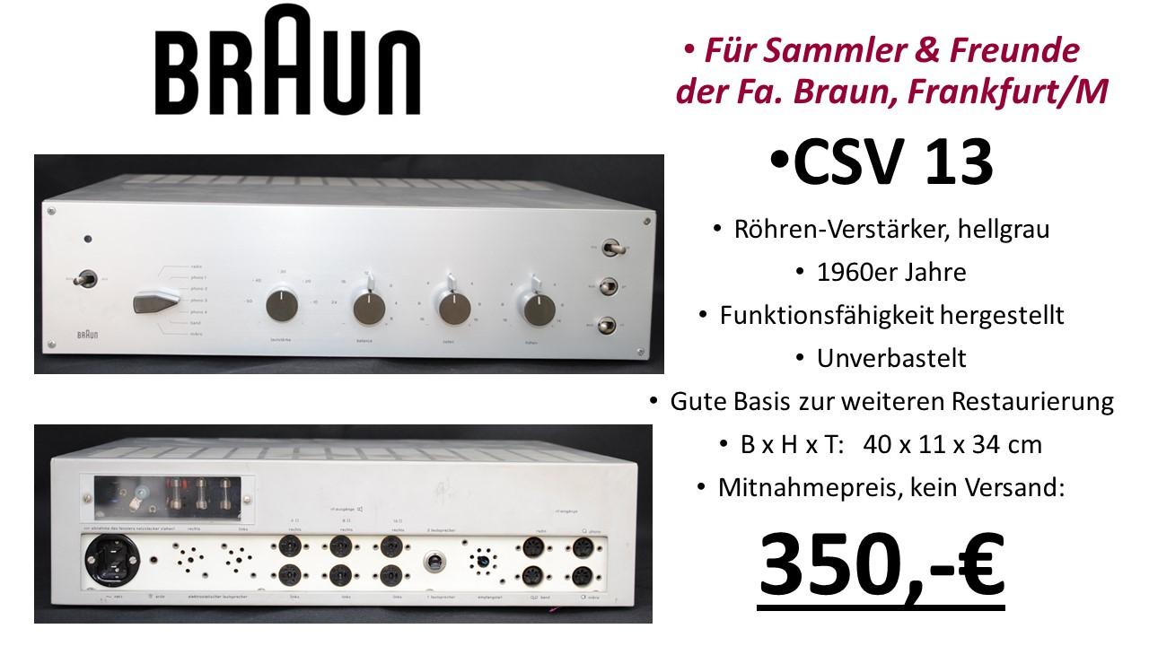 Braun HiFi  CSV 13 Röhren-Verstärker