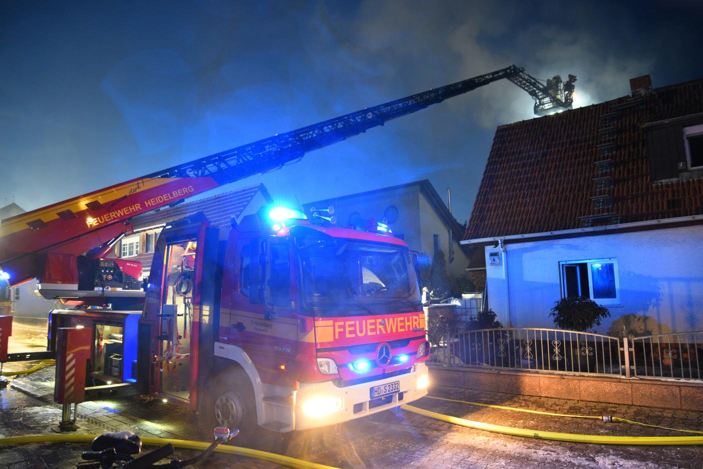 Heidelberg-Pfaffengrund: Brand einer Doppelhaushälfte -   400.000,- Euro Sachschaden