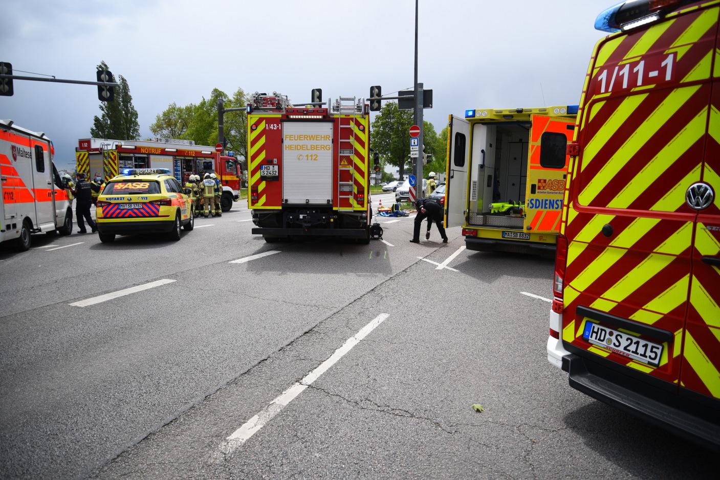 Heidelberg: Zwei Verletzte bei Verkehrsunfall auf Speyerer Straße
