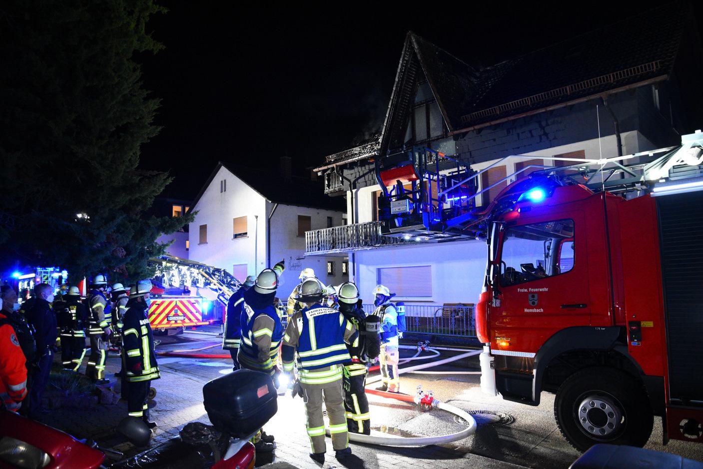 Weinheim/Rhein-Neckar-Kreis: Dachstuhlbrand verursacht Sachschaden von ca. 200 000,- Euro