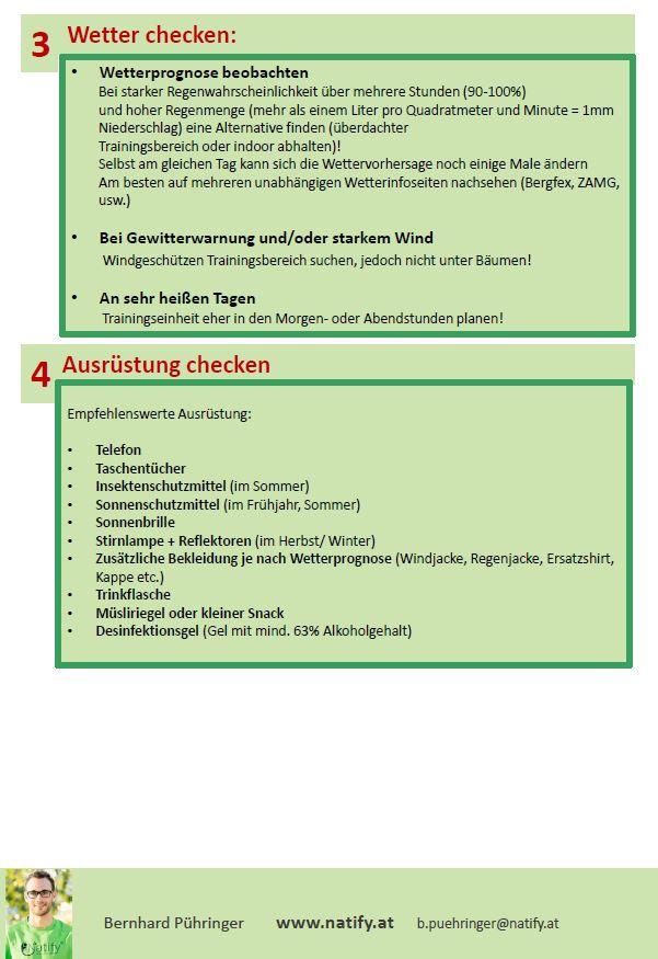 Checkliste Outdoortraining planen - Natify- Training im Freien