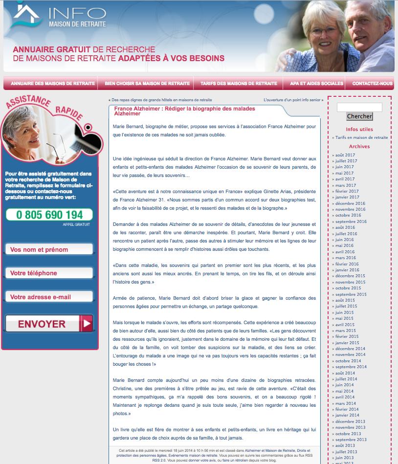 biographe pour les malades d u0026 39 alzheimer