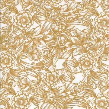 besch. Baumwolle Au Maison - Design: Caroline / 2farbiges Blumenmuster - Farbe: mustard