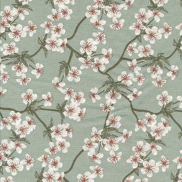 besch. Baumwolle Au Maison - Design: Amalie / Kirschblüten-/zweige - Farbe: verte