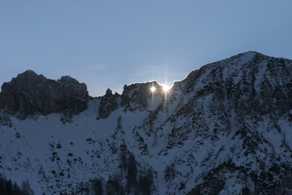 Sonnendurchgang in Sonnen-od. Teufelsloch, Lattengebirge 21.12.2013