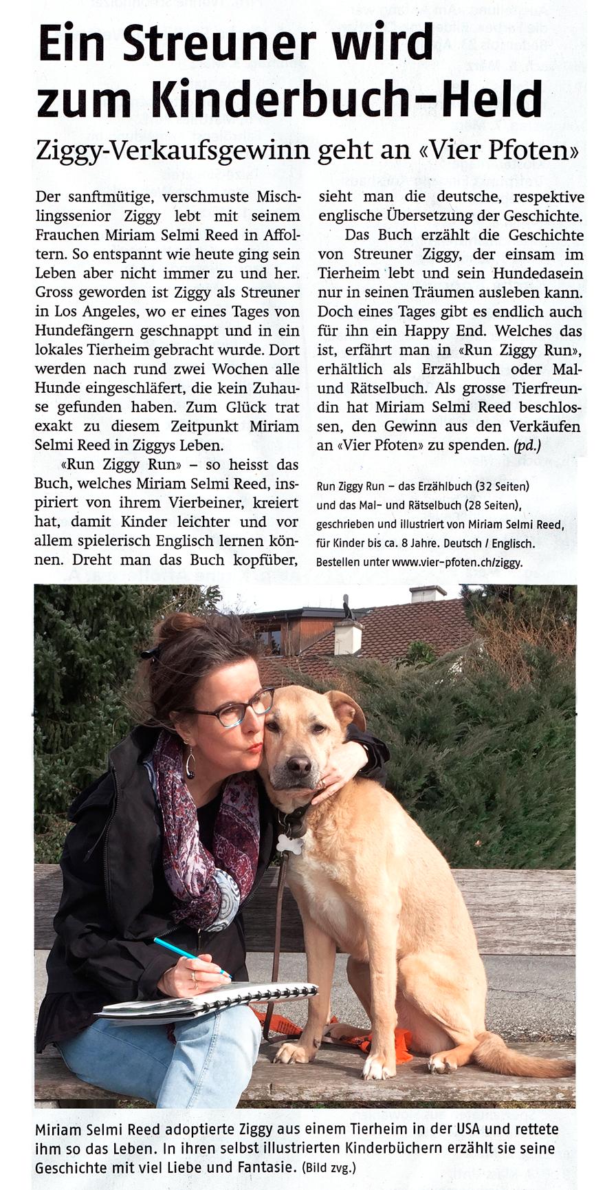 Publiziert im Anzeiger Bezirk Affoltern, 1. März 2019 / Published in the Affoltern Anzeiger, 3/1/2019