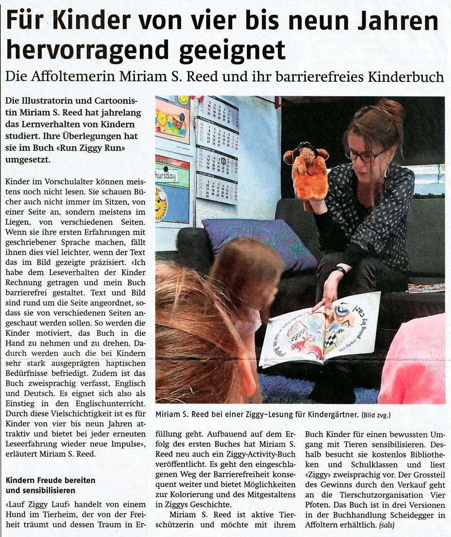 Publiziert im Affoltern Anzeiger, 3. August 2017 / Published in the Affoltern Anzeiger, 8/3/2017