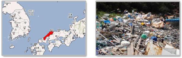 한반도-시마네의 위치, 사마네해안의 쓰레기